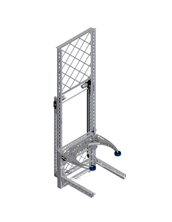 This is the cumulative assembly of the trolley systems, tote stacker, and can holder. This assembly gave us better insight on how much room these systems take and how much more is available for use.